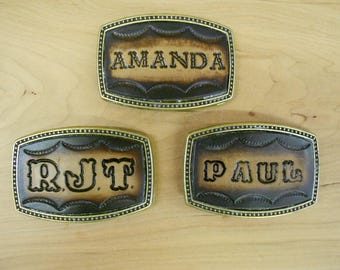 MADE To ORDER Custom Tooled Leather Belt Buckle Names Or Initials Up 6