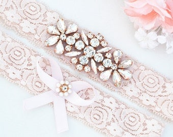 ROSE GOLD blush pink  Crystal pearl Wedding Garter Set, Stretch Lace Garter, Rhinestone Crystal Bridal Garters