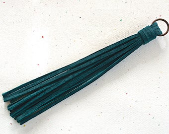 Teal Suede Lace Tassel -140 mm- Pendant Handmade Accessorie - 1 Piece