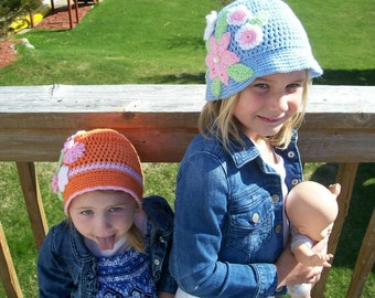 Panama Hats You choose the color of the Hat and the Flowers  Hand Made  Crochet  Hats  Panama  Children Teens and Adult Sizes