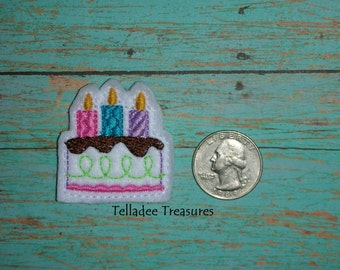 Birthday Cake with Candles Feltie white felt - Great for Hair Bows, Reels, Clips and Crafts - Happy Birthday Celebrate Party