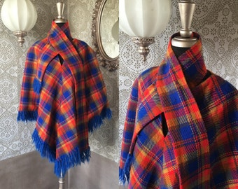 Vintage 1960's 70's Autumnal Blue and Orange Poncho Cape One Size