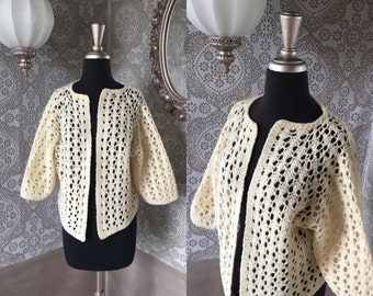 Vintage 1960's Cream Crochet Cardigan Sweater M/L
