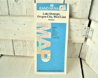 Vintage Lake Oswego Oregon map travel city roads folding 1980s