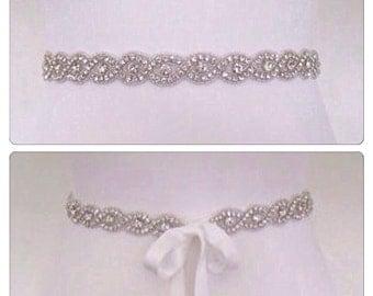 Thin crystal rhinestone wedding belt , thin bridal belt, thin bridal sash
