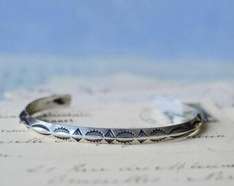 Vintage Hand Stamped Native American Sterling Spacer Cuff Bracelet