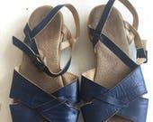 1970's Famolare Vintage Strappy Blue Sandals-Women 6M