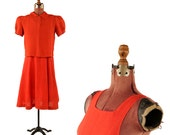 Vintage 1930's Tomato Red Rayon Linen Two Piece Jumper Dress + Blouse Depression Day Dress Set S