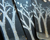 TREES - Silhouttes - Silver trees on black - Gift tags - Set of 6