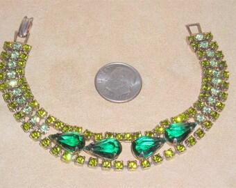 Vintage Green Rhinestone Tear Drop Bracelet 1950's Jewelry 2244