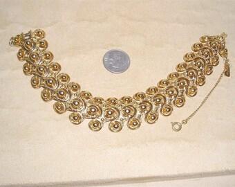 Vintage Signed Monet Gold Tone Renaissance Style Bracelet 1970's Jewelry 2199