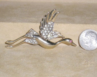 Vintage Rhinestone Sandhill Crane Bird Brooch 1940's Pin Jewelry H33