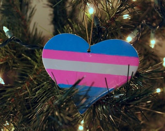 Transgender Pride Flag Heart Christmas Tree Ornament LGBT LGBTQ Gift