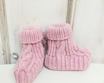 Hand knitted Cable Booties - Rosy Pink