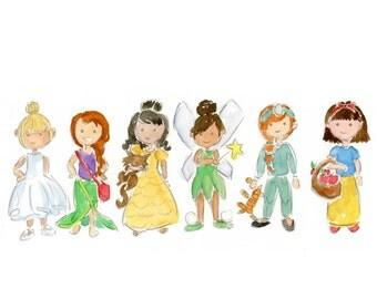 Dress Up Princesses Watercolor
