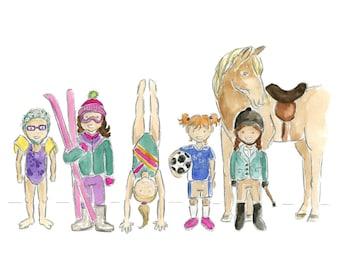 Athletes (girls) Watercolor