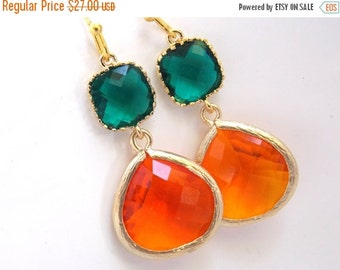 SALE Orange Earrings, Emerald Green Earrings, Glass, Tangerine, Gold Earrings, Bridesmaid Earrings, Bridal Earrings Jewelry, Bridesmaid Gift