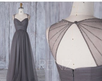 Charcoal Gray Bridesmaid Dress, Ruched Sweetheart Wedding Dress, Bead Back Prom Dress, A Line Evening Gown Floor Length (JS205)