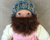 READY TO SHIP Baby Bearded Beanie - Blue Green Brown Hat W/ Medium Brown Beard 6-12 Months Beard face mask