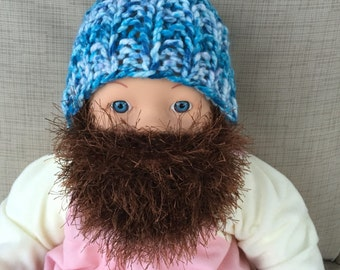 Baby Bearded Beanie - White and Blue Hat W/ Fuzzy Brown Beard 6-12 Months Warm Mask