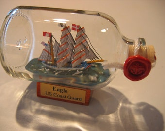 Ship in a Bottle- The US Coast Guard EAGLE Excellent with Stand Europe