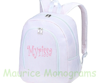Personalized Large Seersucker Backpack - Light Pink Seersucker School Booksack or Diaper Bag - Monogrammed FREE