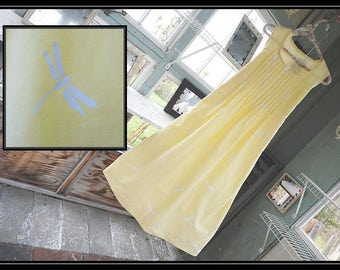 Free shipping in US-XS-SMALL-Yellow Hydrangea,SleevelessCotton Nightgown,Handmade,Vintage Fabric, PinTucked, Waltz Length