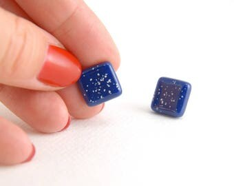 Spotty indigo blue square glass stud earrings, white dots on dark blue, contemporary design, hypoallergenic surgical steel earring posts
