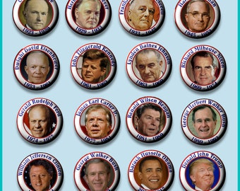 """U.S. American PRESIDENTS 1923-2017 16 Pinback 1"""" Buttons Badges Pins"""