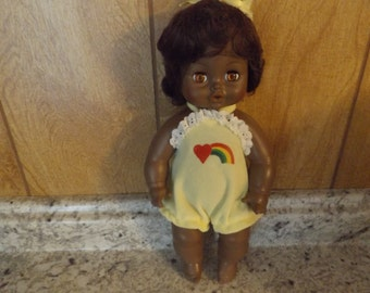 Vintage African American Black Horsman Vinyl Baby Doll / Rooted Hair / Drinks Wets 70's