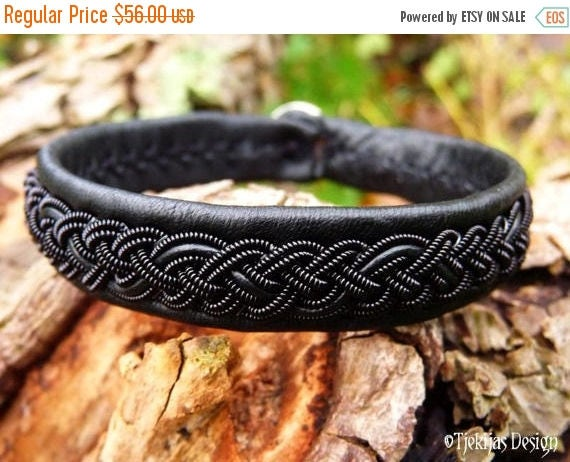 Gothic Black Viking Sami Bracelet JORMUNGANDR Black in Black Unisex Leather Cuff Custom Handmade ... for real Vikings and Shieldmaidens :)