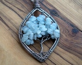 Aquamarine Necklace - Tree Of Life Necklace - March birthday gift - Wire Wrapped Tree of Life - Nature Jewelry - Woodland Jewellery