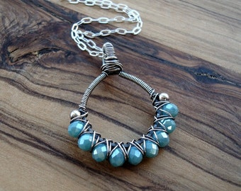 Wire wrapped necklace - Turquoise pendant - Sterling silver necklace - Blue necklace - Crystal necklace - Gift for her - Pretty necklace