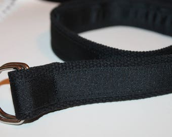 "Black Ribbon Belt Black Belt 1.25"" Wide Black Grosgrain and Canvas Belt Men's Black Belt Men Preppy D Ring Belt Men's Black D Ring BElt"