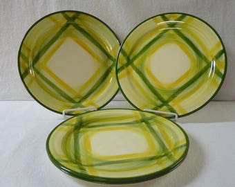Vernon Kilns Plates Gingham Plaid Four 9-1/2 Inch Luncheon Plates