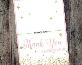Twinkle Twinkle Little Star Thank You Cards, Pink Birthday Thank You Cards, Blush and Gold Birthday, Sparkle Birthday Invitation