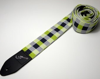 Handmade blue/green double padded checker plaid guitar strap