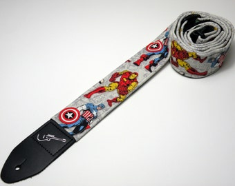 Comic book heros handmade guitar strap - This is NOT a licensed product