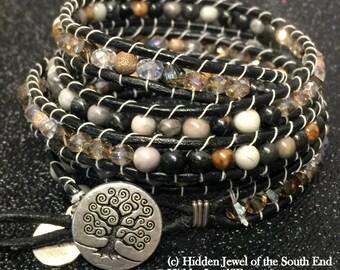 Picasso Jasper Leather Wrap Bracelet, Gemstone Bracelet, black wrap, earthy black Bracelet, black leather Bracelet, jasper bracelet (WR31)