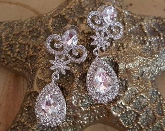 SALE Wedding Earrings, Pageant Earrings, CZ Chandelier Earrings,Statement Earrings Long Dangle Bridal Earrings, Vintage Style Art Deco Earri