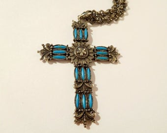 Faux TURQUOISE Cross Necklace Pendant Petit Point Style  - Unique DOUBLE Link Silver Tone Chain - Ornate Setting - Vintage Religious Jewelry