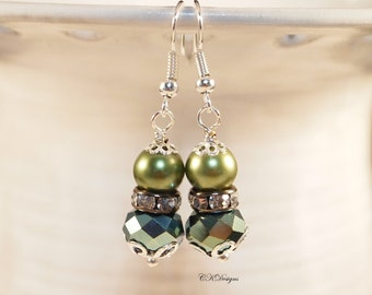 Green Pearl Earrings, Pearl Wedding Earrings , Iris Glass Beaded Earrings Pierced or Clip-on Earrings, OOAK Handmade Earrings. CKDesigns.US