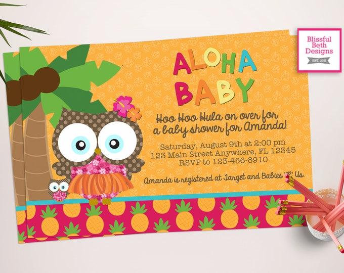 ALOHA BABY SHOWER, Lu-owl, Aloha Baby, Luau Owl, Owl Shower, Owl Invite, Luau Invitation, Aloha Owl Invite, Luau Shower, Aloha Shower