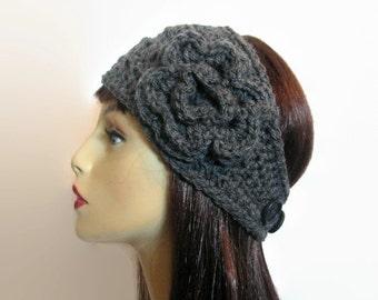 Crochet Headband Gray Earwarmer Thick earwarmer with flower knit Headband Charcoal head wrap Thick Crochet Gray Headband Charcoal headwrap