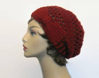 Maroon Slouch Hat with Bow Dark Red Knit Beanie Maroon Crochet Cap  Red Slouchy Beret Cranberry Slouch Hat Crochet Beanie with Bow Red Tam
