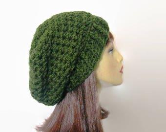 Green Slouch Beanie Green Crochet Slouchy Hat   Forest Green Knit Beanie Olive Crochet Beanie  Forest  Green Slouchy Beret Green slouch Tam