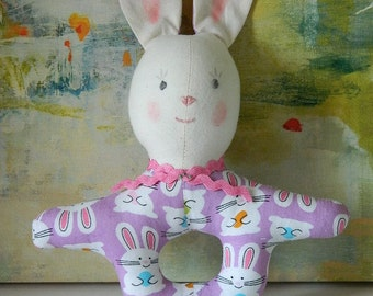 Purple Bunny Rattle, Childs' Easter Basket Gift, Baby Toy Rattle, Baby Shower Gift, Soft Fabric Toy, Handmade Kids' Toy