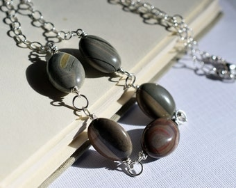 Brown Stone Necklace, Silverleaf Jasper Necklace, Sterling Necklace, Stone Link Necklace, Wire Wrapped Necklace, Pebble Necklace, Earthy