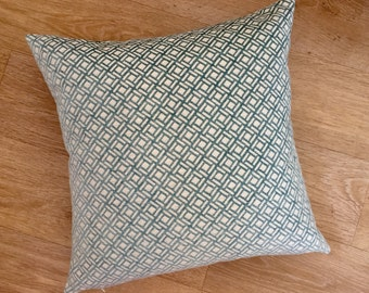 TRELLIS Square AQUA and IVORY design chenille cushion cover in Nina Campbell Kelburn fabric from MoGirl Design Accent cushion.