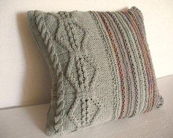 Decorative pillow. cable knitted pillow cover. Throw Pillow Cover, melange Knit Pillow Case, Hand Knit Cushion Cover, Home Decor.